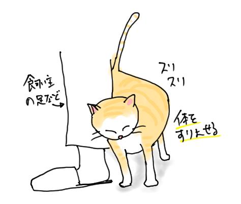 体をすり寄せる猫